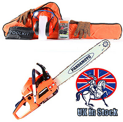 """58cc Petrol Chainsaw with 20"""" Bar and 2x Saw Chain Bar Cover+Bag+Gloves+Tool Kit"""