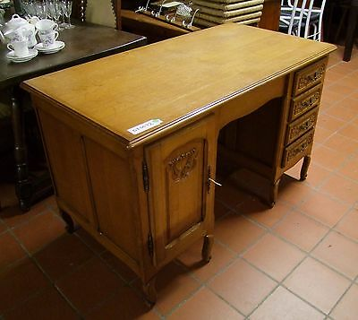 Louis XV Style Vintage French Carved Oak Desk  - (030072)