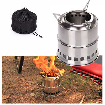 Portable Outdoor Wood Alcohol Stove Gas Burning Camping Cooking Picnic BBQ w/Bag
