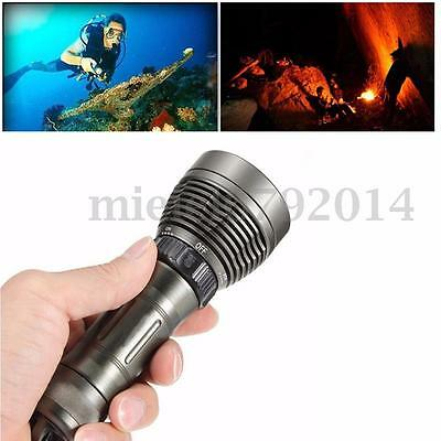 Underwater 80M Waterproof 5000LM T6 LED Diving Dive Flashlight Torch 26650