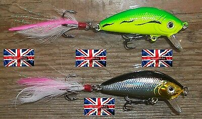 2 X US 4g 45mm RATTLING RAP-TAIL FLOATING DIVING LURES BASS PIKE PERCH FISHING