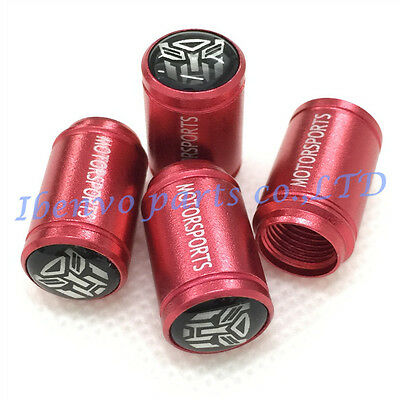 Aluminum Red Matting Car Wheel Tyre Tire Stem Air Valve Cap For AUTOBOT Styling
