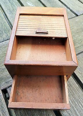 Vintage Wooden Cigarette Box Roll Top / Storage Box