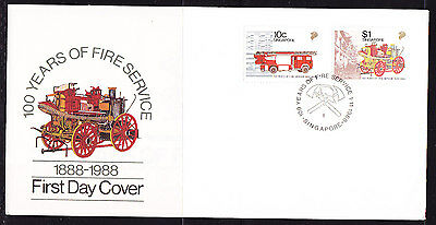 Singapore 1988 Fire Services First Day Cover - Unaddressed
