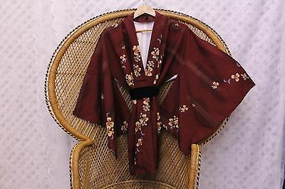 Vintage burgundy boho Floral 70s Japanese silk kimono short Jacket or dress S M