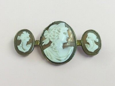 Antique Rolled Gold & Hand Carved Cameo Brooch Pin 1880