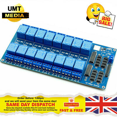 16 Channel 12V Relay Module Optocoupler Protection Power Supply Arduino PIC DSP
