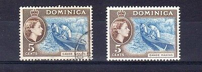 Dominica 1957 & 1962 5C Values Used & Mm