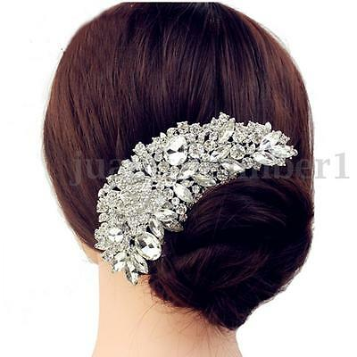 Crystal Wedding Rose Flower Hair Comb Pins Bridal Women's Rhinestone Accessories