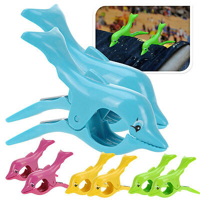 Plastic Dolphin Designed Beach Towel Clips Sun Bed Lounger Holder Pool