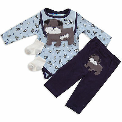 4 piece Baby Boys Clothing Outfit Set Layette Dog Motif Woof Woof in Navy/Blue