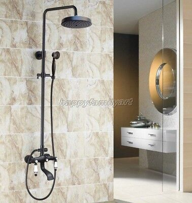 Black Oil Rubbed Brass Wall Mounted Bathroom Rainfall Shower Faucet Set yhg127