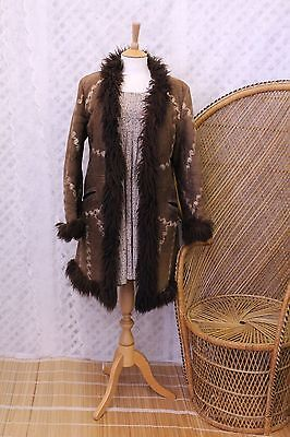 Vintage Suede Afghan boho sheepskin Fur embroidered 70s penny lane coat jacket M
