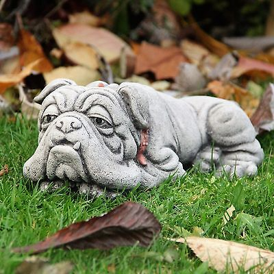 Lying Bulldog Stone Garden Ornament Dog Statue Sculpture Decor Gift