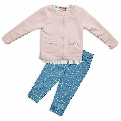 Girls 3 PC Clothing Set Fleece Lined Warm Jacket Bottoms T-Shirt by Chloe Louise