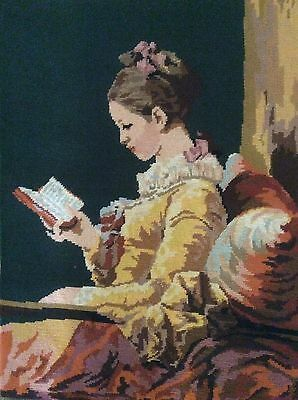 French Needle Point Margot Tapestry-Young Girl reading