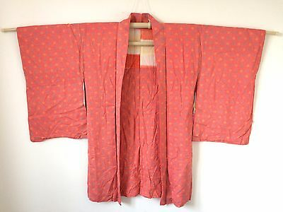 Authentic handmade Japanese pink Haori jacket for Kimono, good condition (E549)