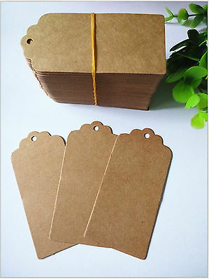 50pcs Brown Kraft Paper Gift Tags Wedding Scallop Label Blank Luggage + Strings