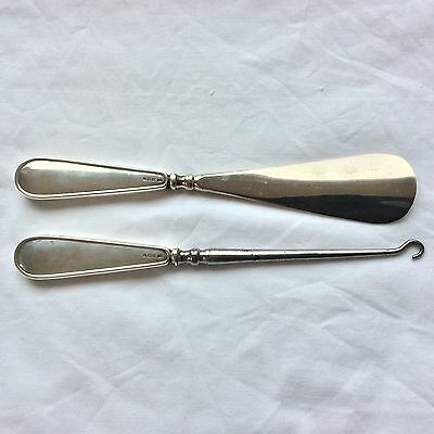 Antique Silver, Birmingham 1916, Solid Handled Button Hook And Shoe Horn.