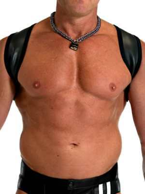 665 Leather Neoprene Slingshot Harness Black/Black S/M Cool4Guys Free Delivery!