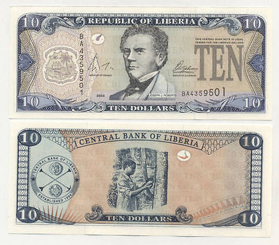 Liberia 10 Dollars 2004 Pick 27 UNC Uncirculated Banknote