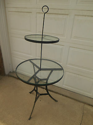 Vintage 2 tier WROUGHT IRON & GLASS flower PLANT STAND COTTAGE GARDEN chic