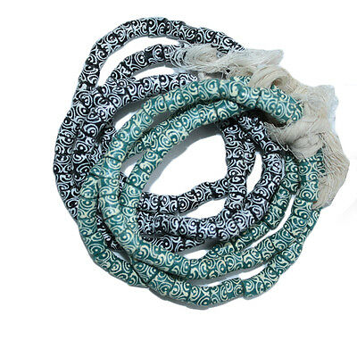 African Beads Recycled Glass Ghana Krobo Tubes Hand-made Teal, Black  8 mm