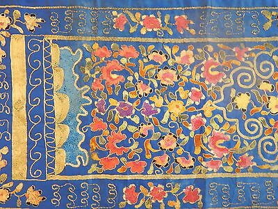 Antique Chinese Hand Embroidered Silk Textile Piece/Panel 143X34cm (X211)