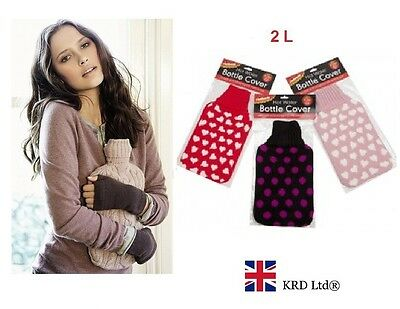 2 L Knitted HOT WATER BOTTLE COVER Safe Cozy Warm Snuggle Winter Comfort 2 Litre