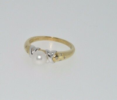 9ct yellow & white gold pearl & diamond ring size N NEW