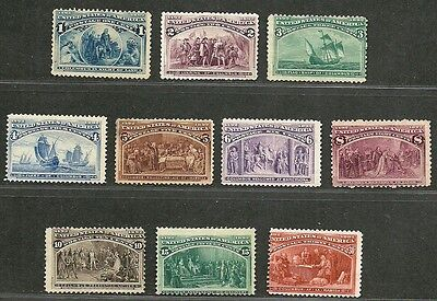 "US 1893 Amazing Old V.F. Mint NG Stamps ""COLUMBIAN ISSUE"" Sc.# 230-239  CV 850 $"
