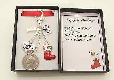 Baby's First 1st Christmas Gift Son.Daughter Red Stocking Lucky Sixpence.