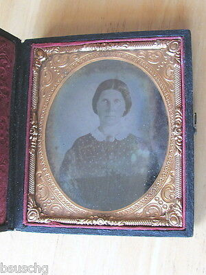 Antique 1800's Photo Holder Case , Fancy Inside Frame - Women