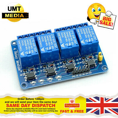 4 Channel 5V Relay Module Optocoupler Protection Power Supply Arduino PIC DSP