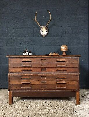 Stunning Vintage Antique Architect Drawers Plan Chest Cabinet