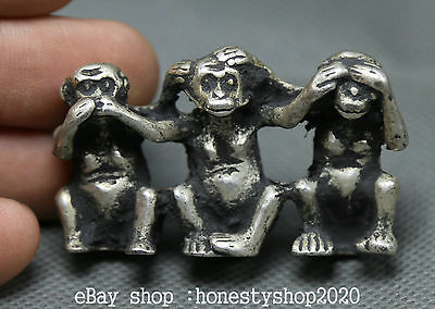5CM Ancient Chinese Miao Silver Fengshui Zodiac Year Three Amusing Monkey Statue