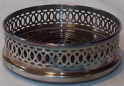 Silver Plate And Wood Wine Coaster Bottle Stand