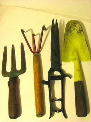 Vintage Retro GARDEN Tools Spade Fork Digger Claw Clippers Red Green Yellow.
