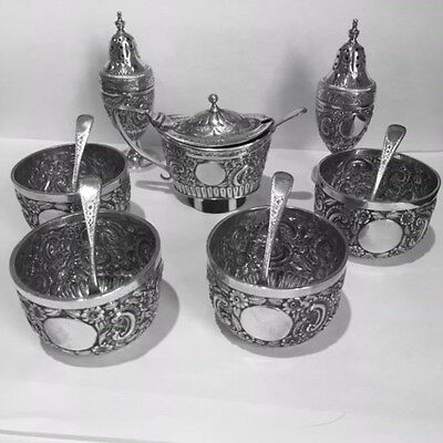 A Solid Silver Victorian 7 Piece Condiment Set1889 By George Maudsley Jackson