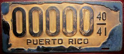 1940-1941 Puerto Rico Vintage Sample All Zeros License Plate Island Map Outline