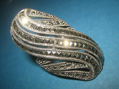 Vintage Sterling Silver Marcasite Ring - Large and Heavy - 1970s/80s O 1/2