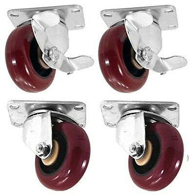 "Set of 4 Swivel Plate Casters with 3"" Polyurethane Wheels & 2 Side Brakes 300lbs"