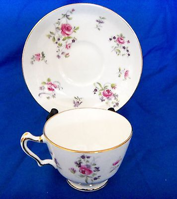 Vintage Staffordshire Crown Bone China Cup & Saucer - Pink Roses & Gold Trim