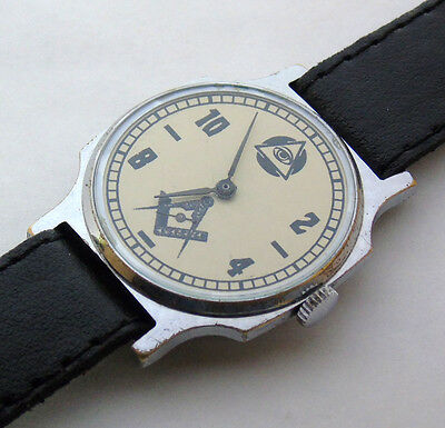 USSR Russian mens' watch POBEDA 1-MCHZ MASONIC  15 jewels #607