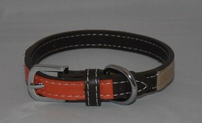 Brand New Pets At Home Tri Colour Brown Beige Orange Leather Dog Collar Xs