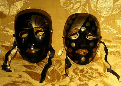Vintage Brass Pair Of Face Masks Wall Hanging