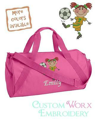Personalized Embroidered Soccer Girls Duffle Bag-Toddler Children's ball strip