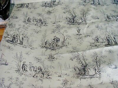 1 Yard Of Beautiful Vintage French Toile Fabric