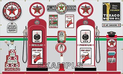 Texaco Gas Pumps Service Station Items Scene Wall Mural Sign Banner Art 6' X 10'