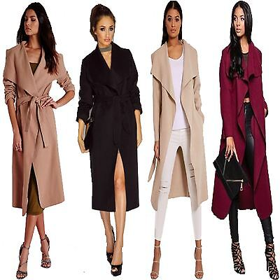 Ladies Women Italian Waterfall Long Duster Belted Parka Outwear Trench Coat 8-20